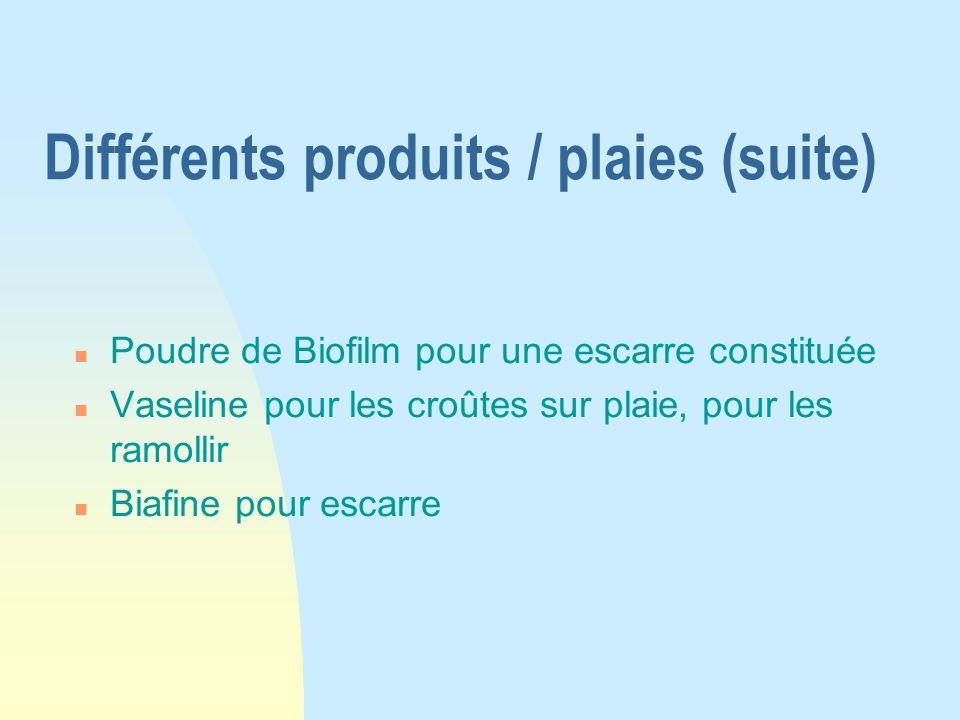 Différents produits / plaies (suite) n Poudre de Biofilm pour une escarre constituée n Vaseline pour les croûtes sur plaie, pour les ramollir n Biafin
