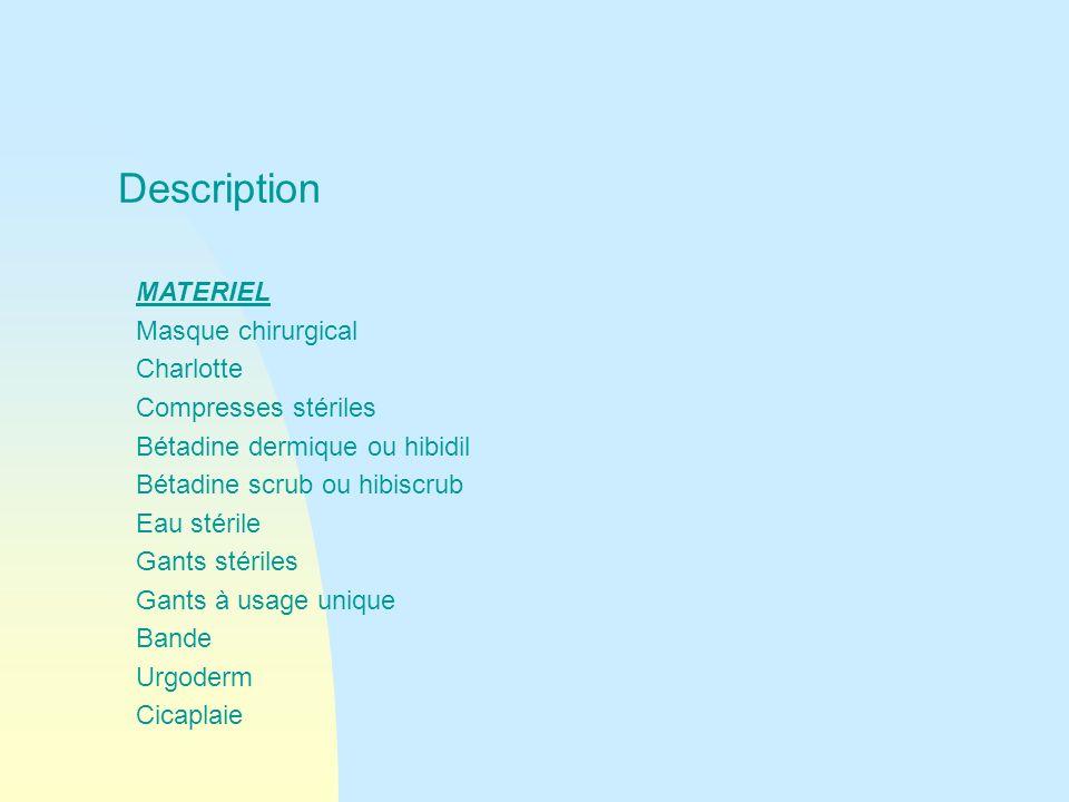 Description MATERIEL Masque chirurgical Charlotte Compresses stériles Bétadine dermique ou hibidil Bétadine scrub ou hibiscrub Eau stérile Gants stéri