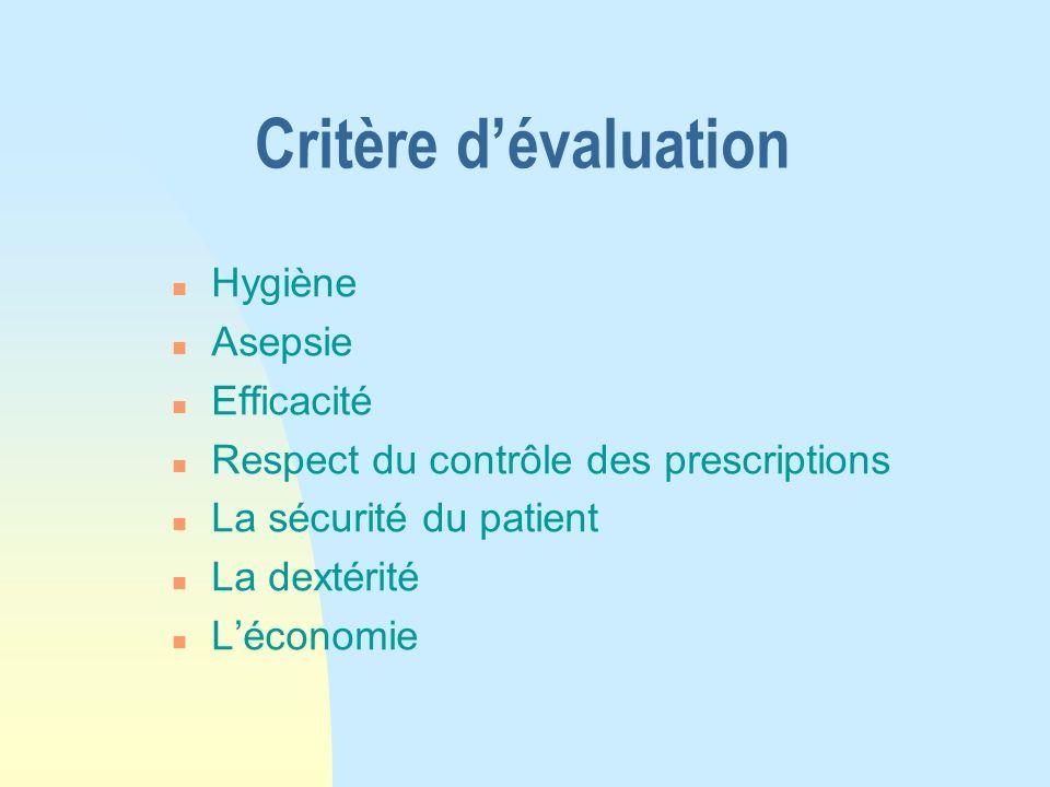 Critère dévaluation n Hygiène n Asepsie n Efficacité n Respect du contrôle des prescriptions n La sécurité du patient n La dextérité n Léconomie