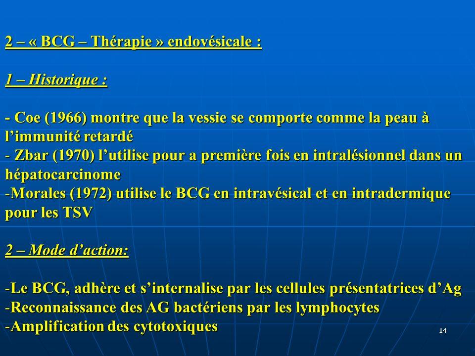14 2 – « BCG – Thérapie » endovésicale : 1 – Historique : - Coe (1966) montre que la vessie se comporte comme la peau à limmunité retardé - Zbar (1970
