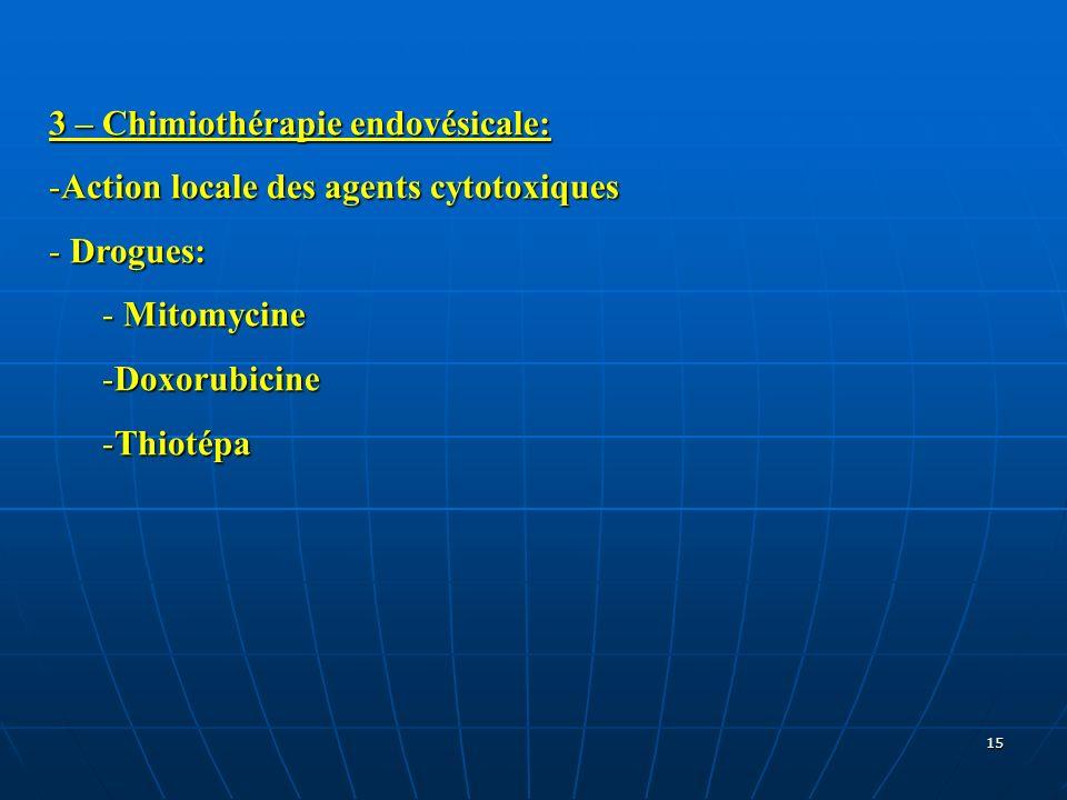 15 3 – Chimiothérapie endovésicale: -Action locale des agents cytotoxiques - Drogues: - Mitomycine -Doxorubicine -Thiotépa