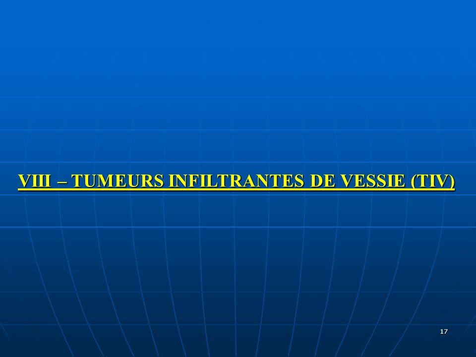 17 VIII – TUMEURS INFILTRANTES DE VESSIE (TIV)