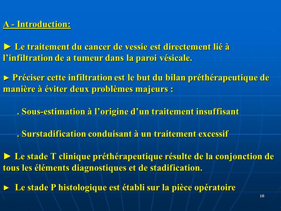 18 A - Introduction: Le traitement du cancer de vessie est directement lié à linfiltration de a tumeur dans la paroi vésicale. Préciser cette infiltra