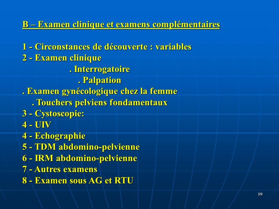 19 B – Examen clinique et examens complémentaires 1 - Circonstances de découverte : variables 2 - Examen clinique. Interrogatoire. Palpation. Examen g