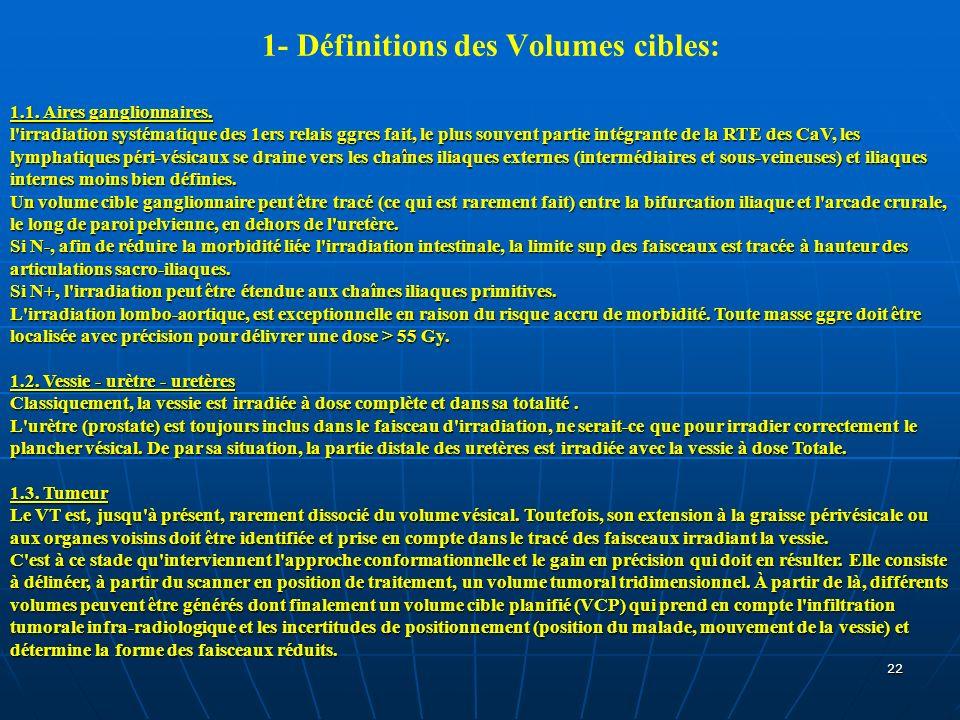 22 1- Définitions des Volumes cibles: 1.1. Aires ganglionnaires. l'irradiation systématique des 1ers relais ggres fait, le plus souvent partie intégra