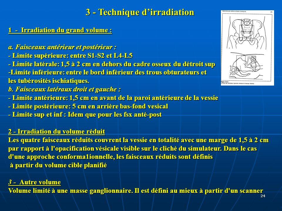 24 3 - Technique dirradiation 1 - Irradiation du grand volume : a. Faisceaux antérieur et postérieur : - Limite supérieure: entre S1-S2 et L4-L5 - Lim
