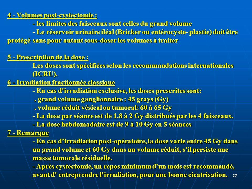37 4 - Volumes post-cystectomie : - les limites des faisceaux sont celles du grand volume - Le réservoir urinaire iléal (Bricker ou entérocysto- plast