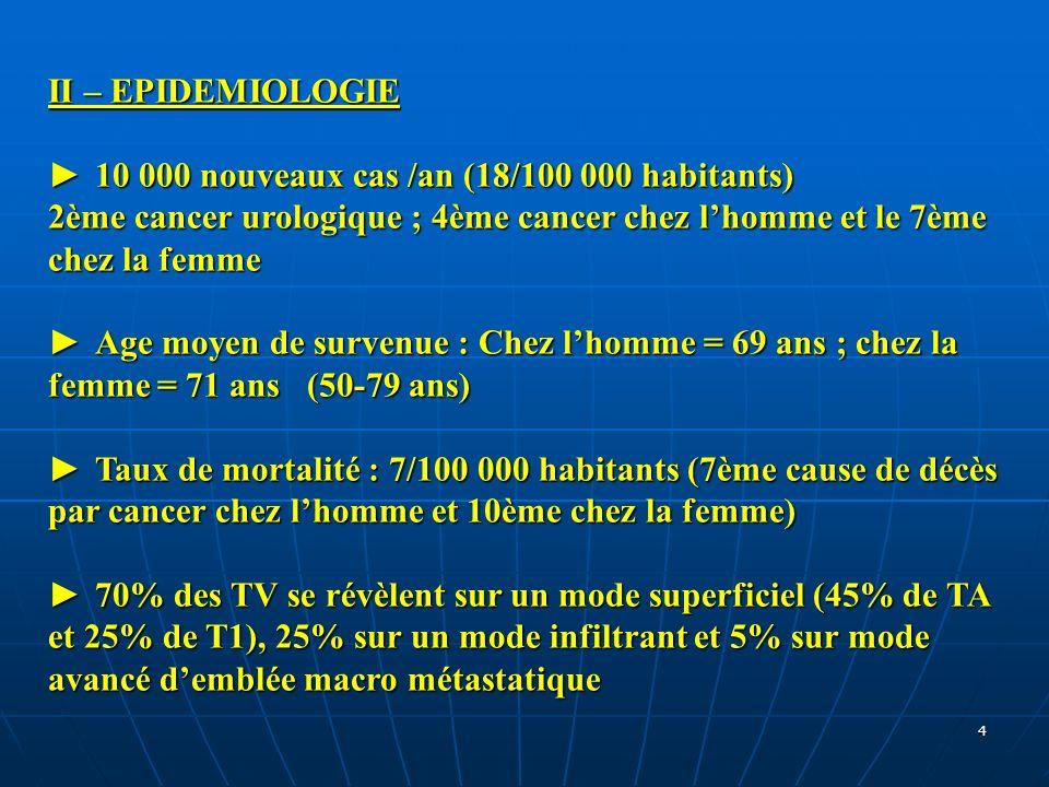 4 II – EPIDEMIOLOGIE 10 000 nouveaux cas /an (18/100 000 habitants) 10 000 nouveaux cas /an (18/100 000 habitants) 2ème cancer urologique ; 4ème cance