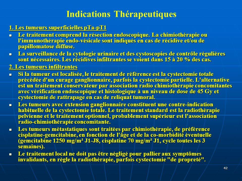 42 Indications Thérapeutiques 1. Les tumeurs superficielles pTa-pT1 Le traitement comprend la résection endoscopique. La chimiothérapie ou l'immunothé