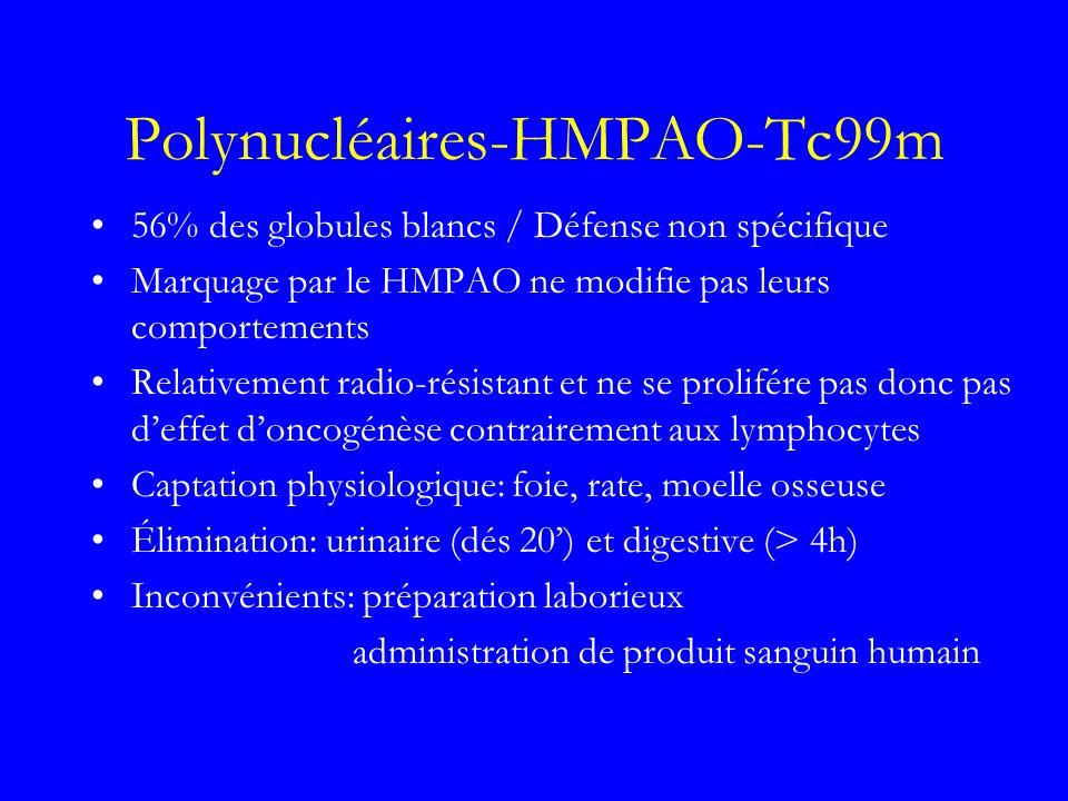Polynucléaires-HMPAO-Tc99m 56% des globules blancs / Défense non spécifique Marquage par le HMPAO ne modifie pas leurs comportements Relativement radi