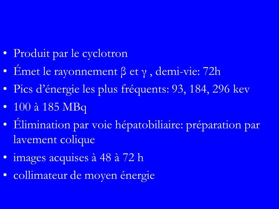 Produit par le cyclotron Émet le rayonnement β et γ, demi-vie: 72h Pics dénergie les plus fréquents: 93, 184, 296 kev 100 à 185 MBq Élimination par vo