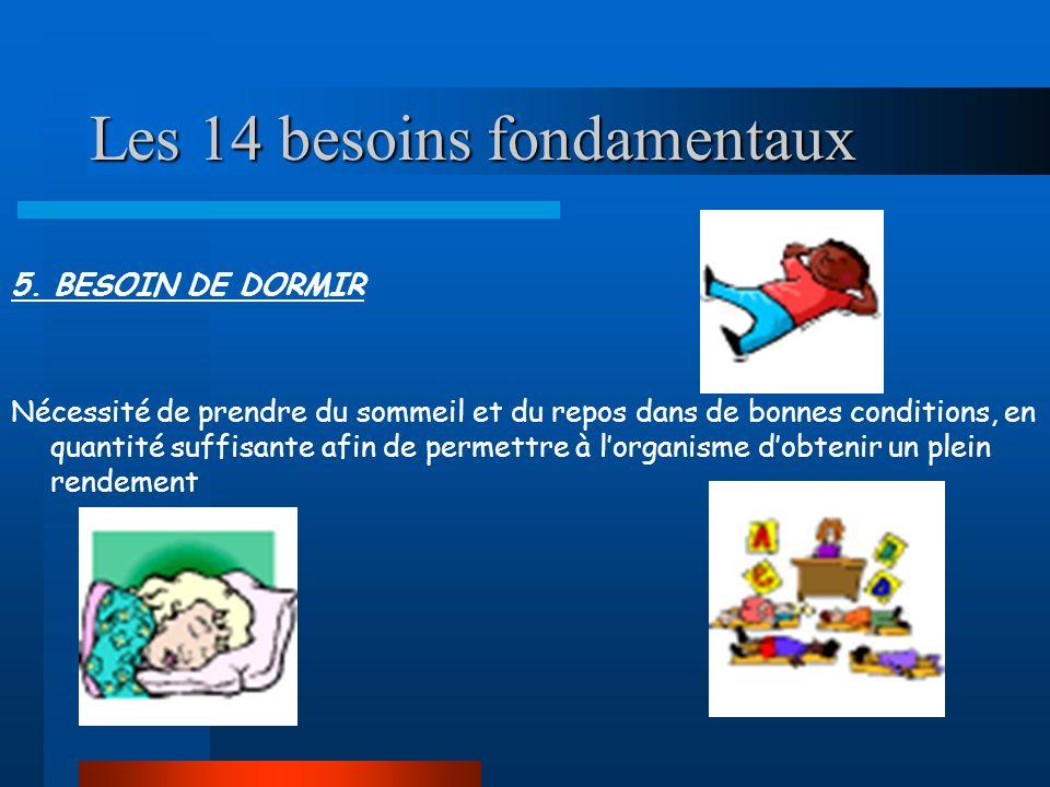 Les 14 besoins fondamentaux 5. BESOIN DE DORMIR Nécessité de prendre du sommeil et du repos dans de bonnes conditions, en quantité suffisante afin de
