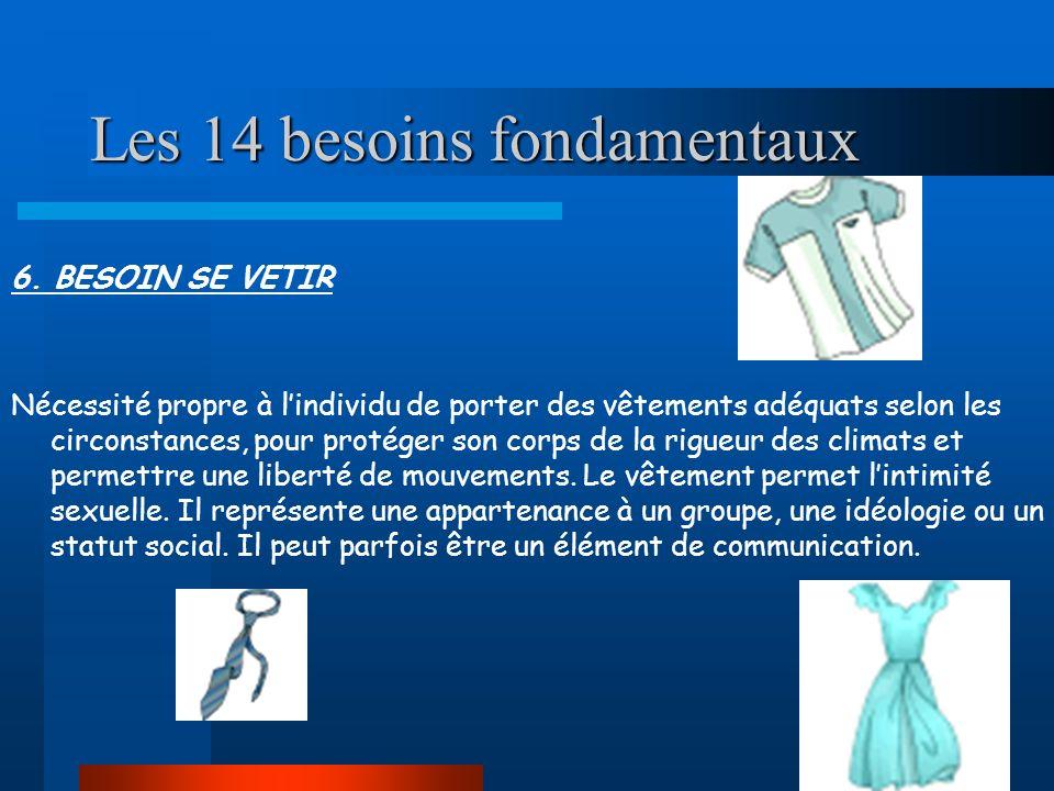 Les 14 besoins fondamentaux 6. BESOIN SE VETIR Nécessité propre à lindividu de porter des vêtements adéquats selon les circonstances, pour protéger so