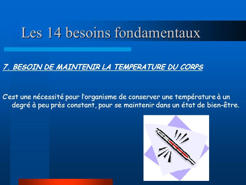 Les 14 besoins fondamentaux 7. BESOIN DE MAINTENIR LA TEMPERATURE DU CORPS Cest une nécessité pour lorganisme de conserver une température à un degré