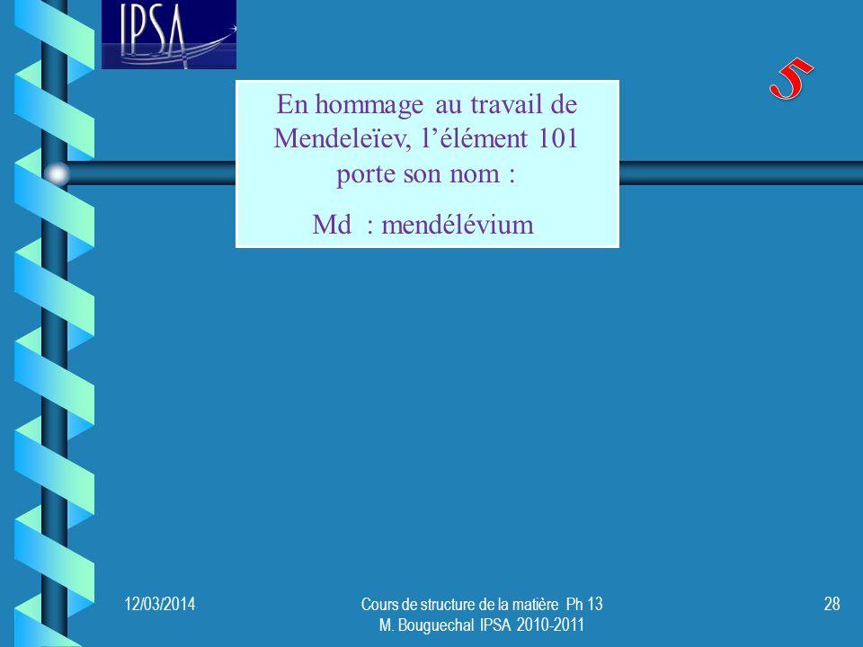 12/03/2014Cours de structure de la matière Ph 13 M. Bouguechal IPSA 2010-2011 28 En hommage au travail de Mendeleïev, lélément 101 porte son nom : Md