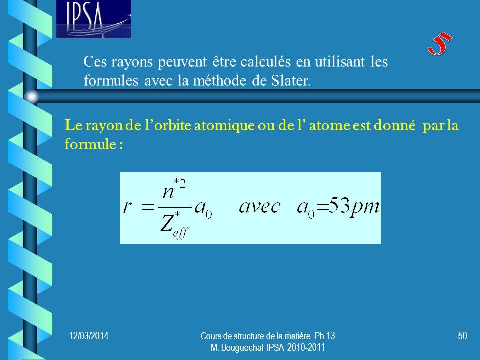 12/03/2014Cours de structure de la matière Ph 13 M. Bouguechal IPSA 2010-2011 50 Le rayon de lorbite atomique ou de l atome est donné par la formule :