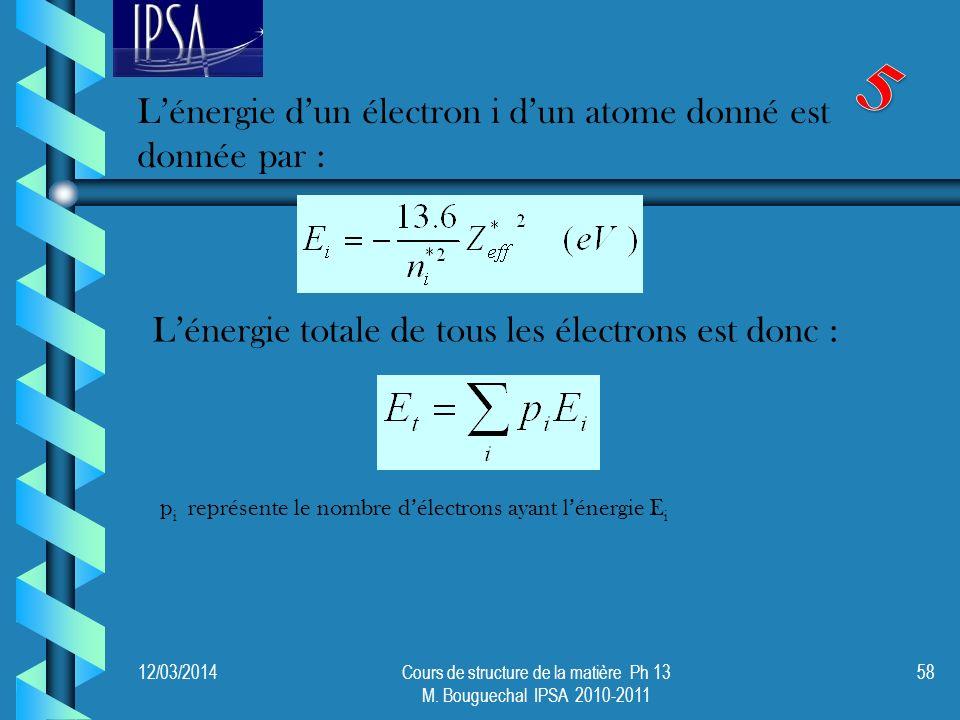 12/03/2014Cours de structure de la matière Ph 13 M. Bouguechal IPSA 2010-2011 58 Lénergie dun électron i dun atome donné est donnée par : Lénergie tot