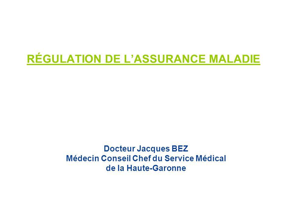 RÉGULATION DE LASSURANCE MALADIE Docteur Jacques BEZ Médecin Conseil Chef du Service Médical de la Haute-Garonne