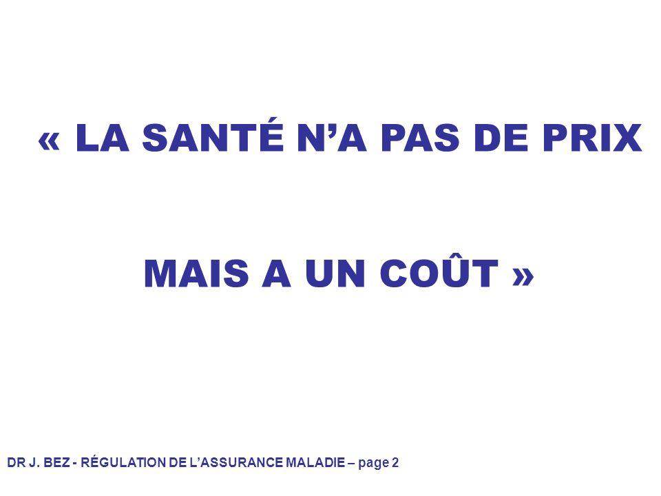 DR J. BEZ - RÉGULATION DE LASSURANCE MALADIE – page 2 « LA SANTÉ NA PAS DE PRIX MAIS A UN COÛT »