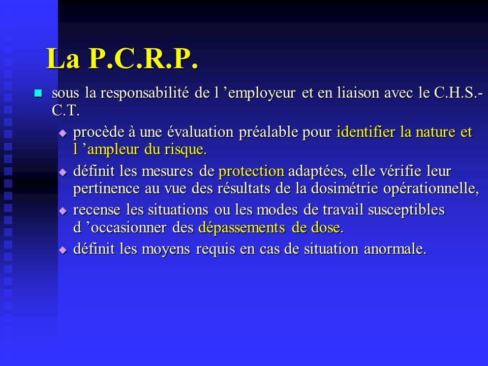 La P.C.R.P. sous la responsabilité de l employeur et en liaison avec le C.H.S.- C.T. sous la responsabilité de l employeur et en liaison avec le C.H.S