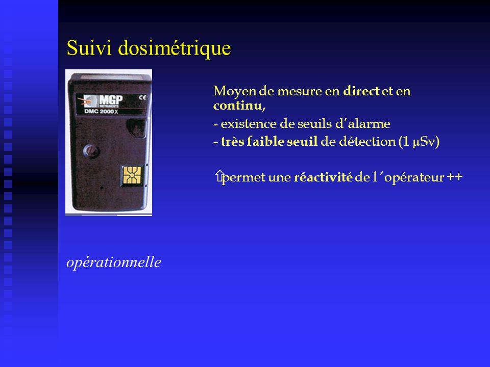 Suivi dosimétrique opérationnelle Moyen de mesure en direct et en continu, - existence de seuils dalarme - très faible seuil de détection (1 µSv) ñ pe
