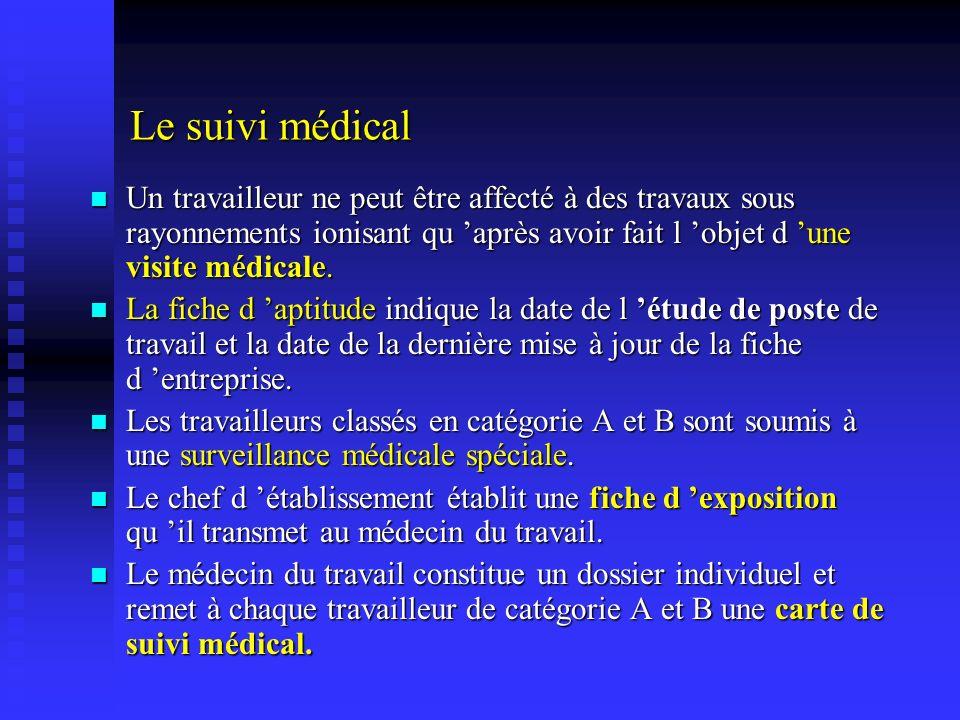 Le suivi médical Un travailleur ne peut être affecté à des travaux sous rayonnements ionisant qu après avoir fait l objet d une visite médicale. Un tr
