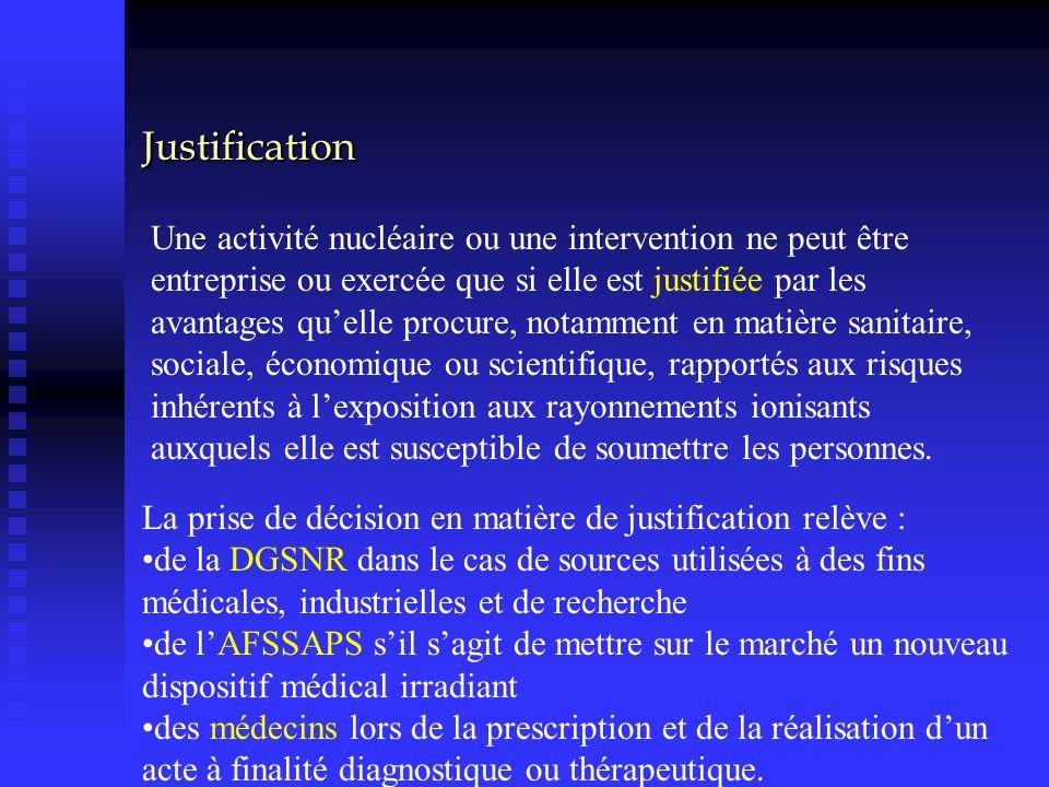 Justification Une activité nucléaire ou une intervention ne peut être entreprise ou exercée que si elle est justifiée par les avantages quelle procure