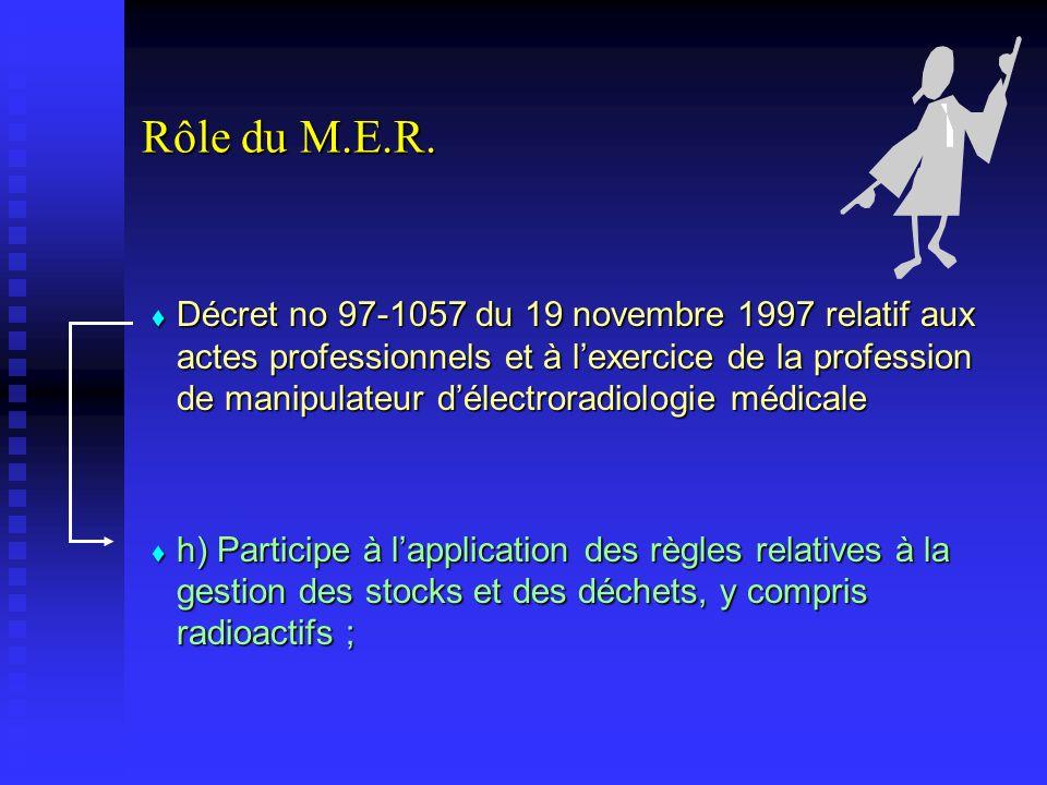 Rôle du M.E.R. Décret no 97-1057 du 19 novembre 1997 relatif aux actes professionnels et à lexercice de la profession de manipulateur délectroradiolog