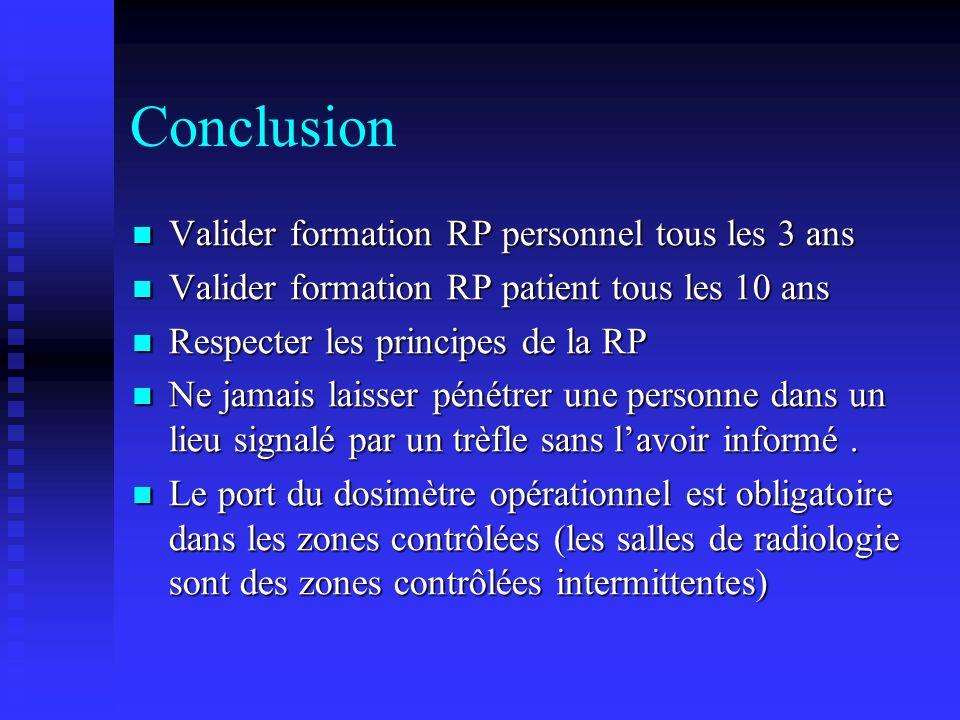 Conclusion Valider formation RP personnel tous les 3 ans Valider formation RP personnel tous les 3 ans Valider formation RP patient tous les 10 ans Va