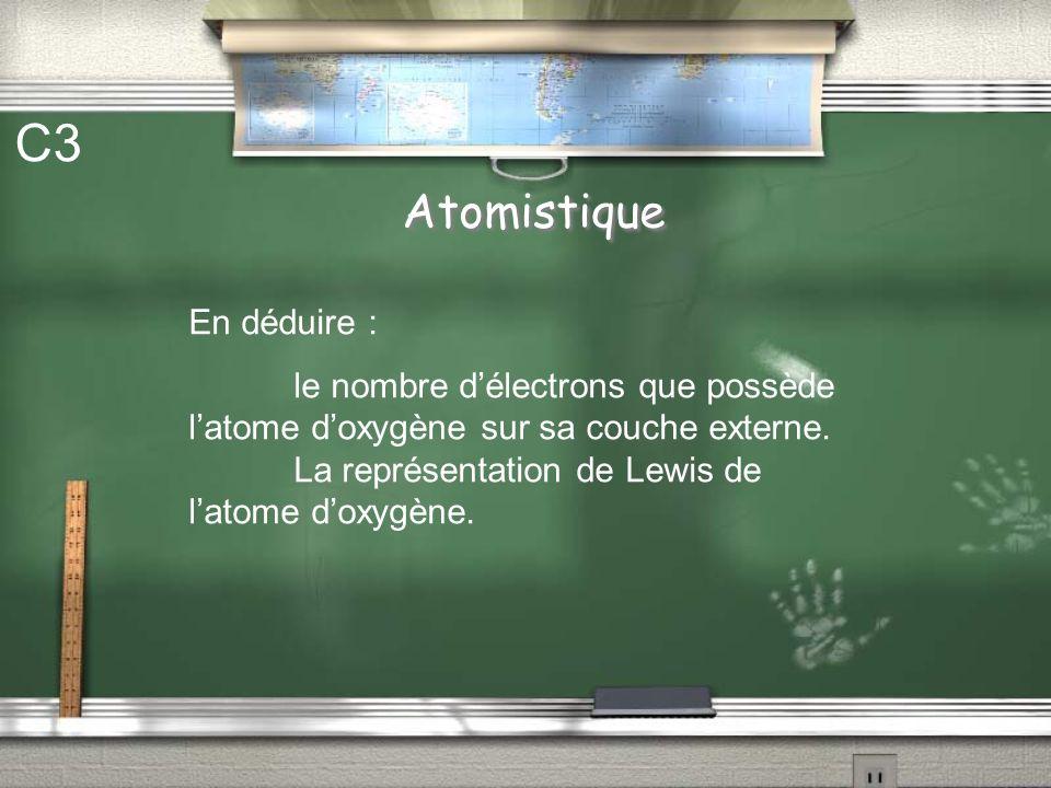 Atomistique C2 Latome doxygène possède 8 électrons. Donner la structure électronique de cet atome. On rappelle : Nom de la couche Nombre délectrons 1