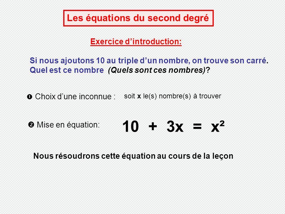 Les équations du second degré Exercice dintroduction: Si nous ajoutons 10 au triple dun nombre, on trouve son carré.