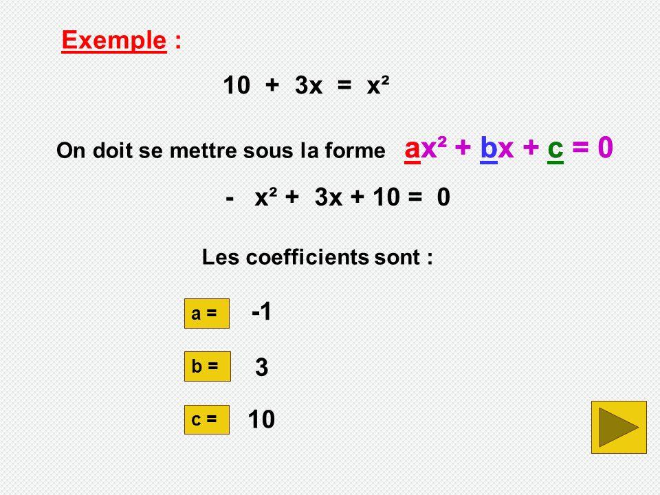 - x² + 3x + 10 = 0 Exemple : 10 + 3x = x² On doit se mettre sous la forme ax² + bx + c = 0 a = b = c = 10 3 ax² + bx + c = 0 Les coefficients sont :