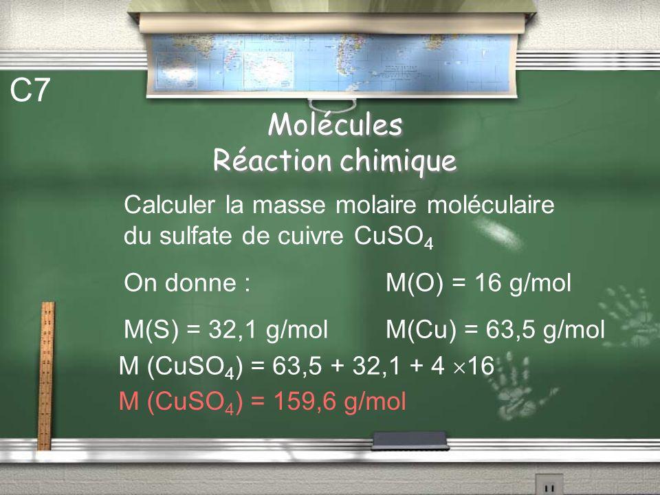 Molécules Réaction chimique C6 Donner les formules chimiques des corps suivants : eau dioxygène dihydrogène dioxyde de carbone H2OH2O O2O2 H2H2 CO 2
