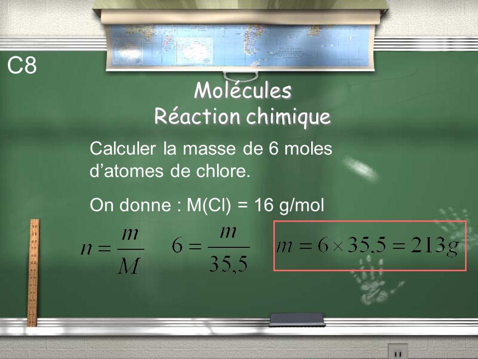 Molécules Réaction chimique C7 Calculer la masse molaire moléculaire du sulfate de cuivre CuSO 4 On donne : M(O) = 16 g/mol M(S) = 32,1 g/mol M(Cu) =