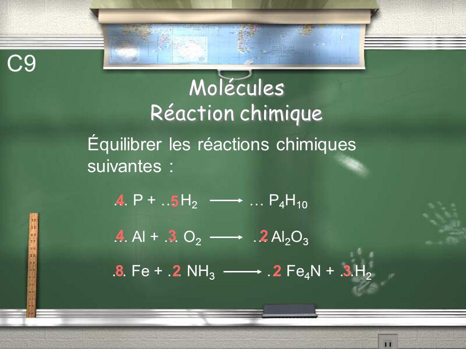 Molécules Réaction chimique C8 Calculer la masse de 6 moles datomes de chlore. On donne : M(Cl) = 16 g/mol