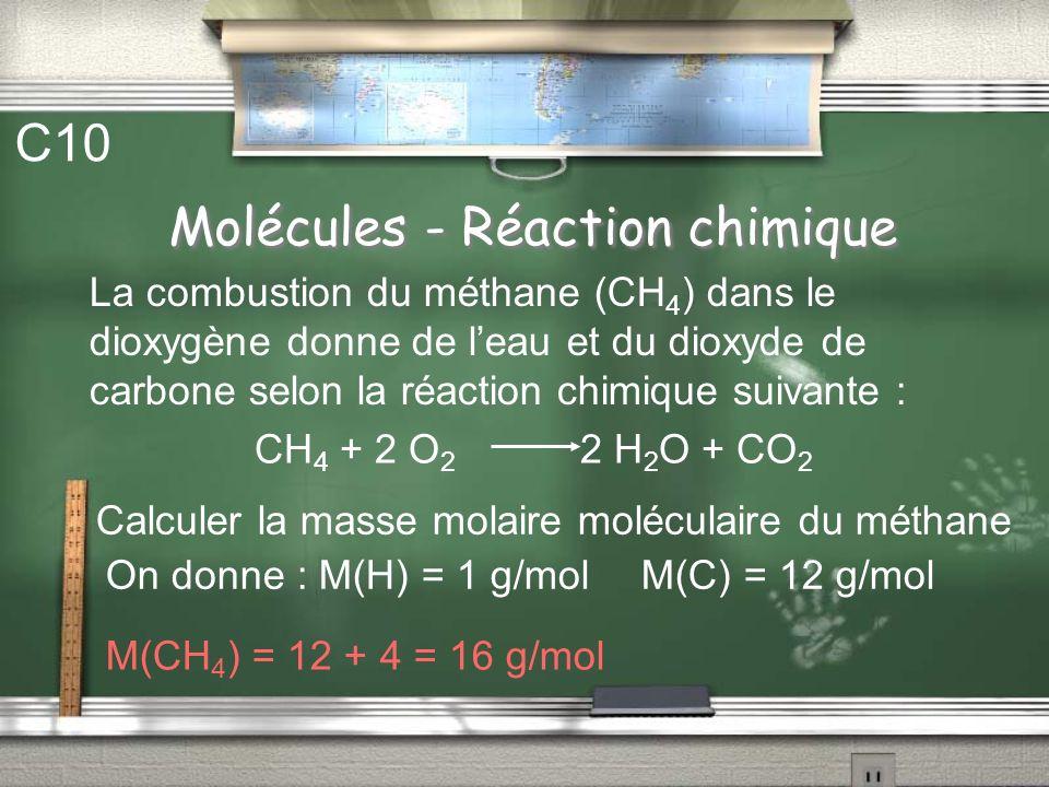 Molécules Réaction chimique C9 Équilibrer les réactions chimiques suivantes : … P + … H 2 … P 4 H 10 … Al + … O 2 … Al 2 O 3 … Fe + … NH 3 … Fe 4 N +