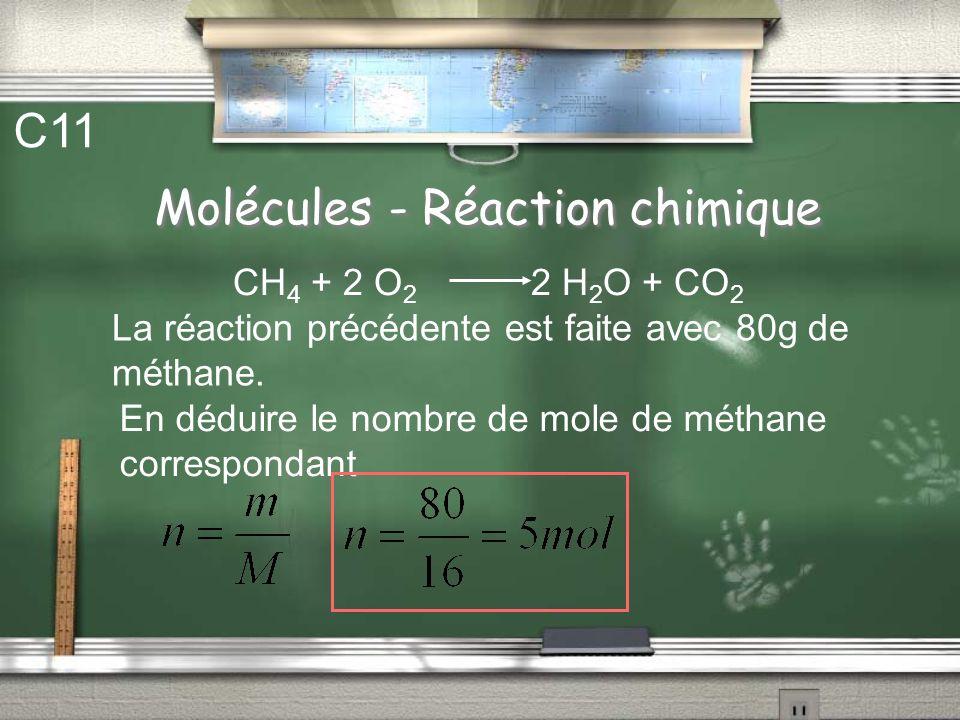 Molécules - Réaction chimique C10 La combustion du méthane (CH 4 ) dans le dioxygène donne de leau et du dioxyde de carbone selon la réaction chimique