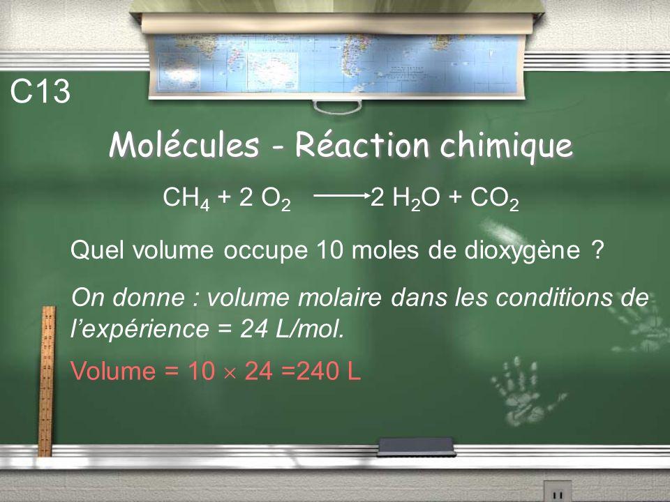 Molécules - Réaction chimique C12 La réaction précédente est faite avec 5 moles de méthane. CH 4 + 2 O 2 2 H 2 O + CO 2 En déduire le nombre de mole d
