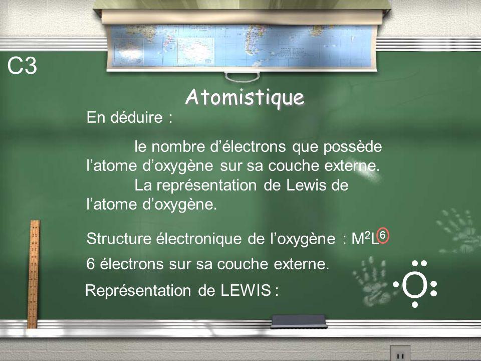 Atomistique C3 En déduire : le nombre délectrons que possède latome doxygène sur sa couche externe.