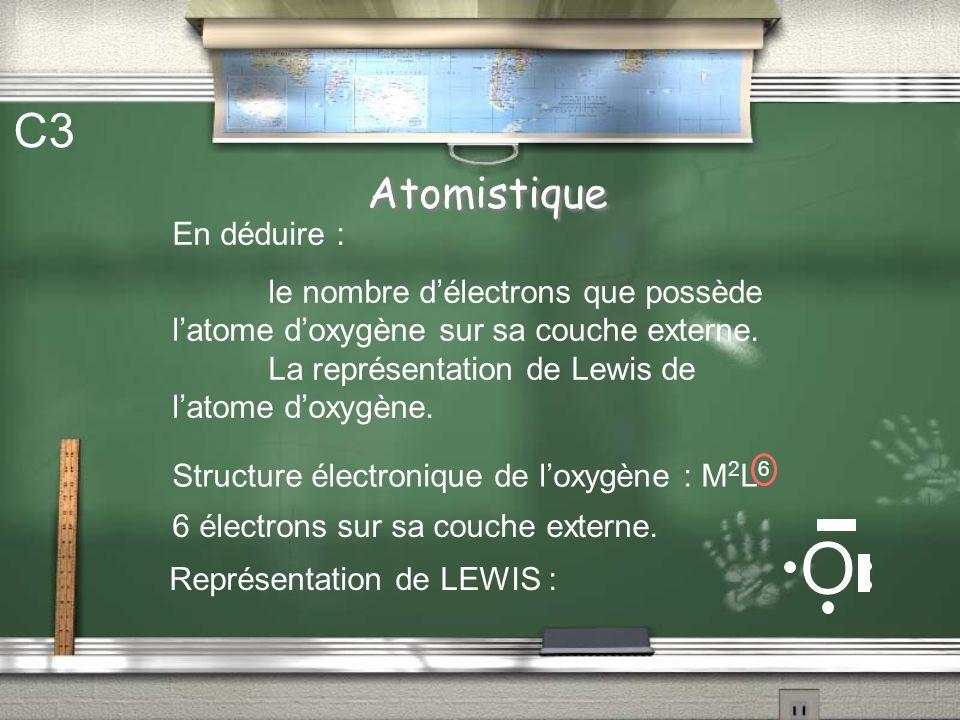 Atomistique C3 En déduire : le nombre délectrons que possède latome doxygène sur sa couche externe. La représentation de Lewis de latome doxygène. Str