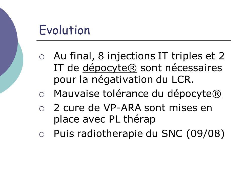 Evolution Au final, 8 injections IT triples et 2 IT de dépocyte® sont nécessaires pour la négativation du LCR. Mauvaise tolérance du dépocyte® 2 cure