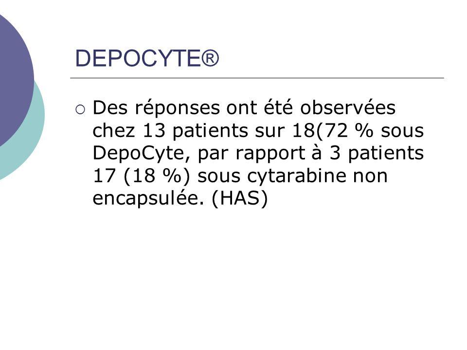 DEPOCYTE® Des réponses ont été observées chez 13 patients sur 18(72 % sous DepoCyte, par rapport à 3 patients 17 (18 %) sous cytarabine non encapsulée