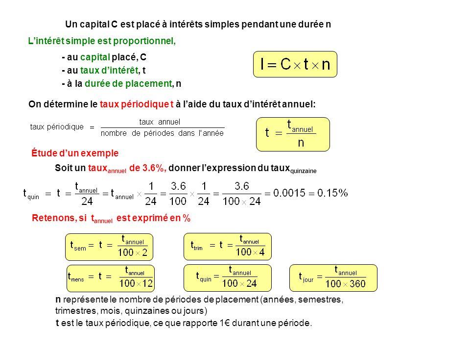 On détermine le taux périodique t à laide du taux dintérêt annuel: Un capital C est placé à intérêts simples pendant une durée n Lintérêt simple est p