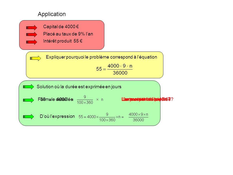 Application Capital de 4000 Placé au taux de 9% lan Intérêt produit 55 Expliquer pourquoi le problème correspond à léquation Solution où la durée est