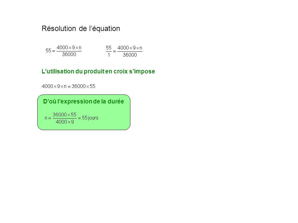 Résolution de léquation Lutilisation du produit en croix simpose Doù lexpression de la durée