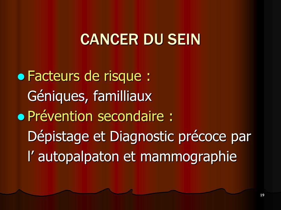 19 CANCER DU SEIN Facteurs de risque : Facteurs de risque : Géniques, familliaux Prévention secondaire : Prévention secondaire : Dépistage et Diagnost