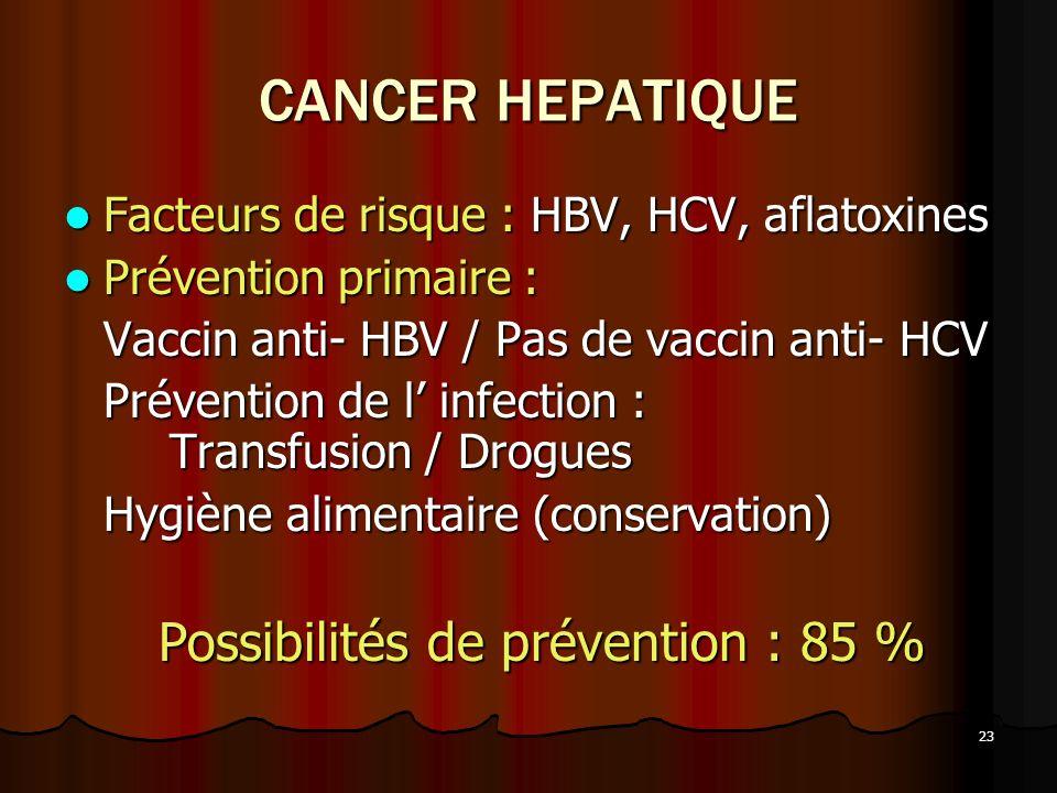 23 CANCER HEPATIQUE Facteurs de risque : HBV, HCV, aflatoxines Facteurs de risque : HBV, HCV, aflatoxines Prévention primaire : Prévention primaire :