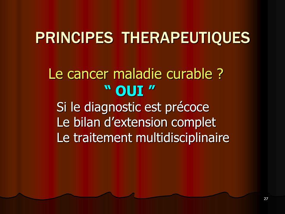 27 PRINCIPES THERAPEUTIQUES Le cancer maladie curable ? Le cancer maladie curable ? OUI OUI Si le diagnostic est précoce Si le diagnostic est précoce