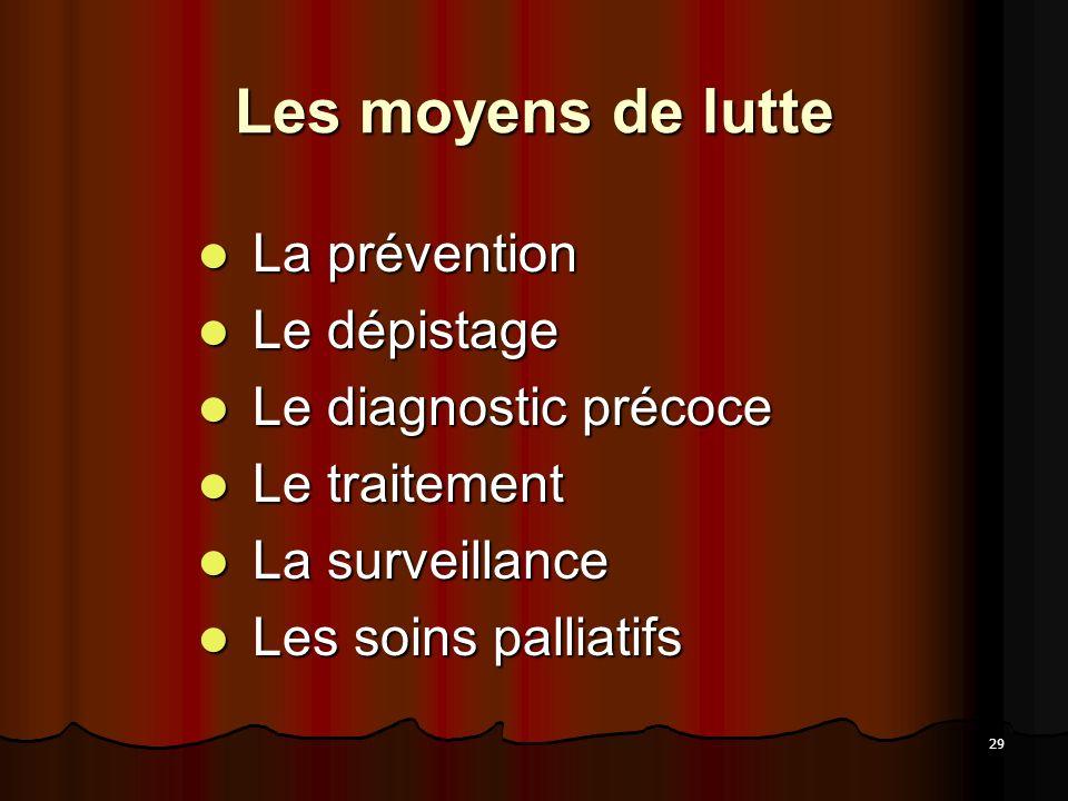 29 Les moyens de lutte La prévention La prévention Le dépistage Le dépistage Le diagnostic précoce Le diagnostic précoce Le traitement Le traitement L