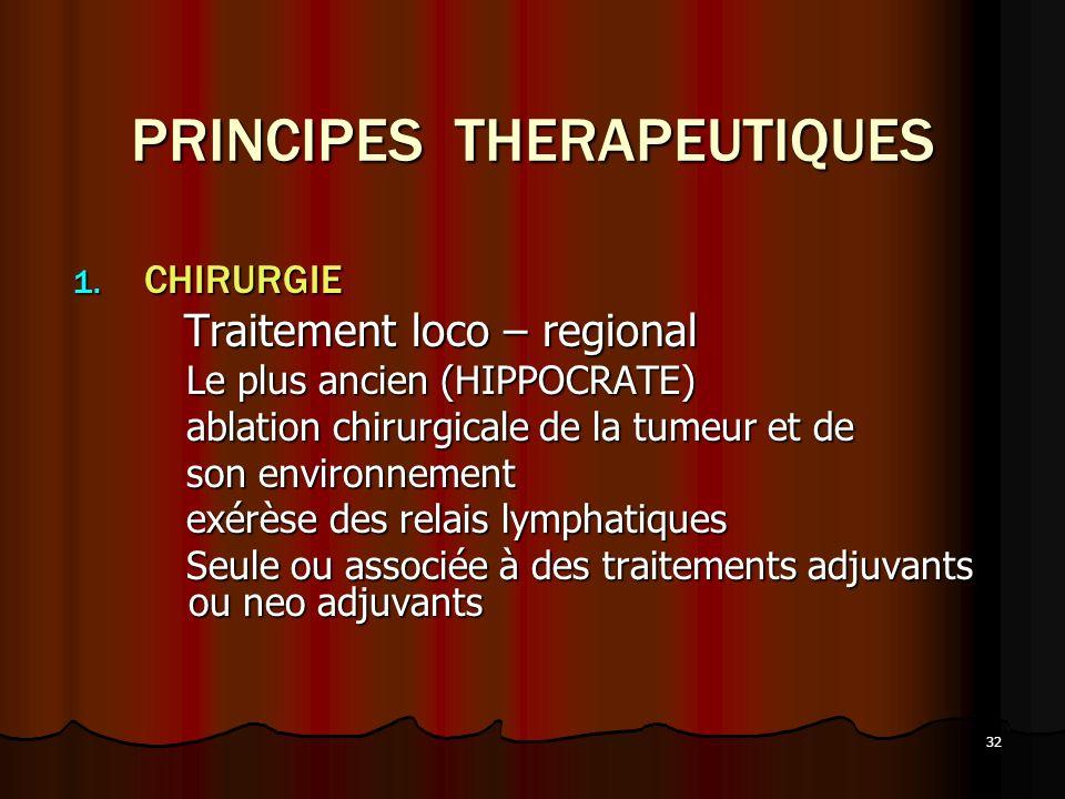 32 PRINCIPES THERAPEUTIQUES 1. CHIRURGIE Traitement loco – regional Traitement loco – regional Le plus ancien (HIPPOCRATE) Le plus ancien (HIPPOCRATE)